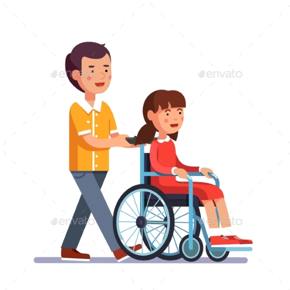 Kid Pushes Wheelchair with Person - People Characters