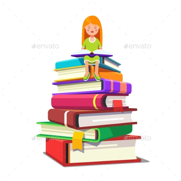 Girl Sitting on a Pile of Big Books and Reading - People Characters