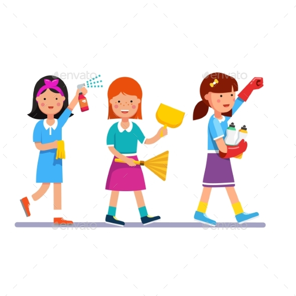 Kids Cleaning Team Doing Household Chores - People Characters