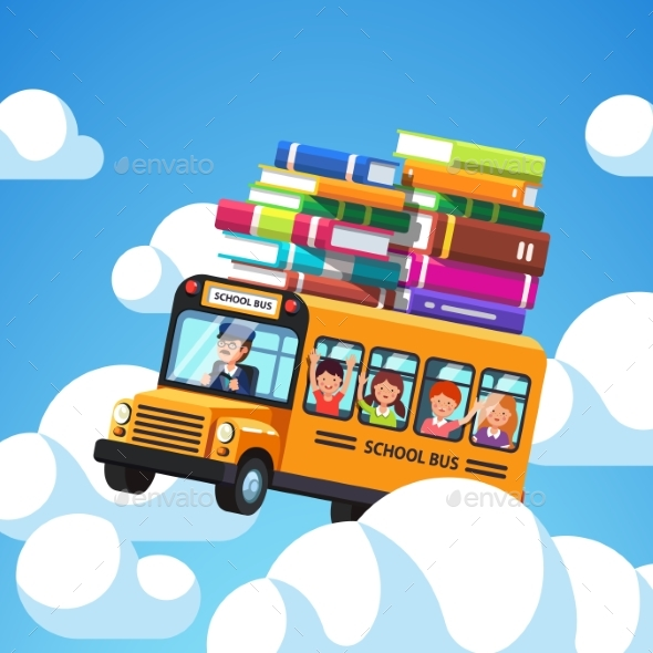 School Bus with Driver and Kids Riding - People Characters