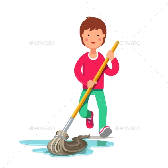 Kid Cleaning Floor with Dust Mop Wet Broom - People Characters