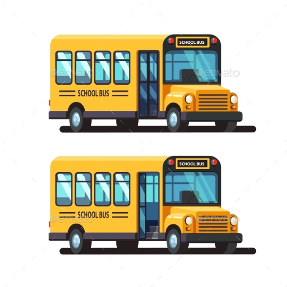 Yellow School Bus with Closed and Opened Doors - Travel Conceptual