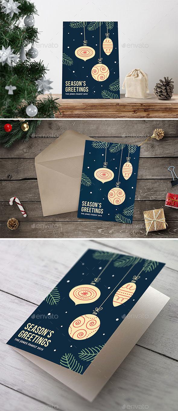 Retro Christmas Card Background - Christmas Seasons/Holidays