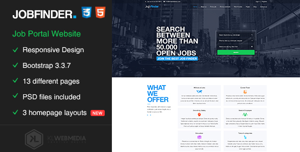 Jobfinder - Job Portal HTML5 Template - Business Corporate