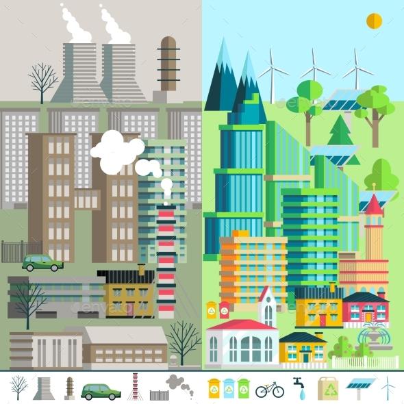 Urban Landscape, Environment, Ecology, Elements - Technology Conceptual