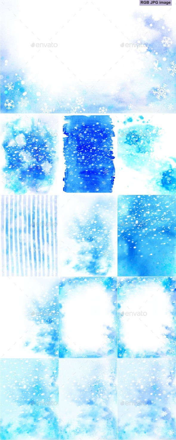 Blue Christmas Watercolor Backgrounds Set with Snowflakes