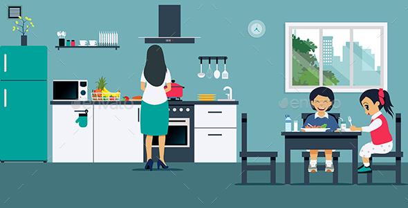 Breakfast in the Kitchen - Decorative Vectors