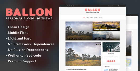 Balloon – Personal Blog WordPress Theme