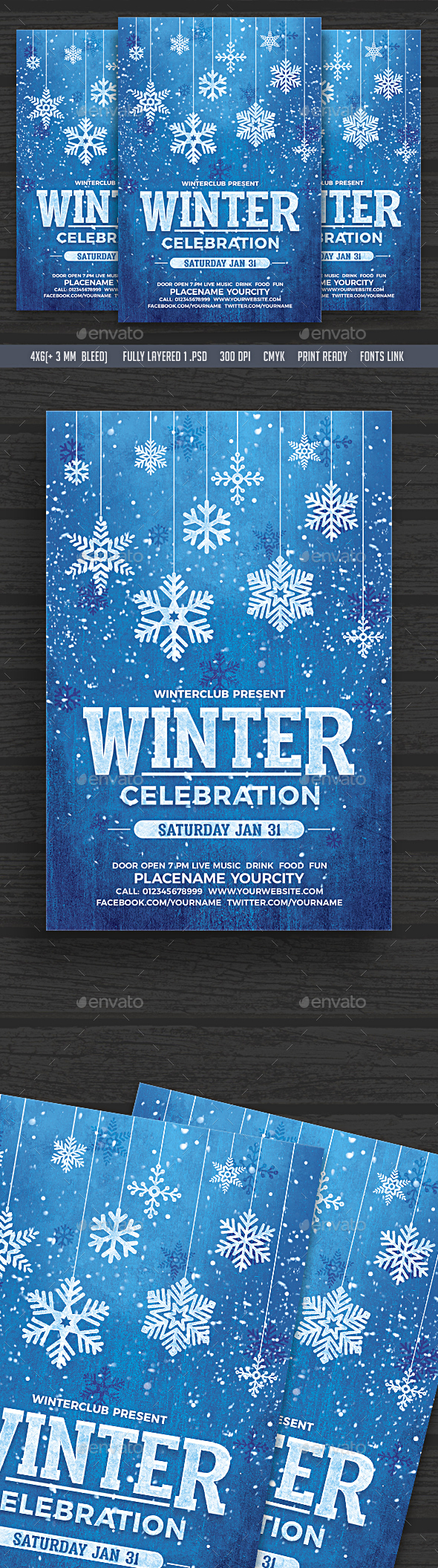 Winter Celebration Flyer - Clubs & Parties Events
