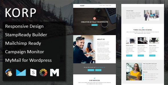 Image of KORP - Multipurpose Responsive Email Template + Stampready Online Builder Access