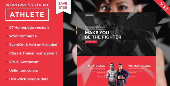 Athlete Fitness – Fullly functional Fitness, Gym and Sport WordPress Theme