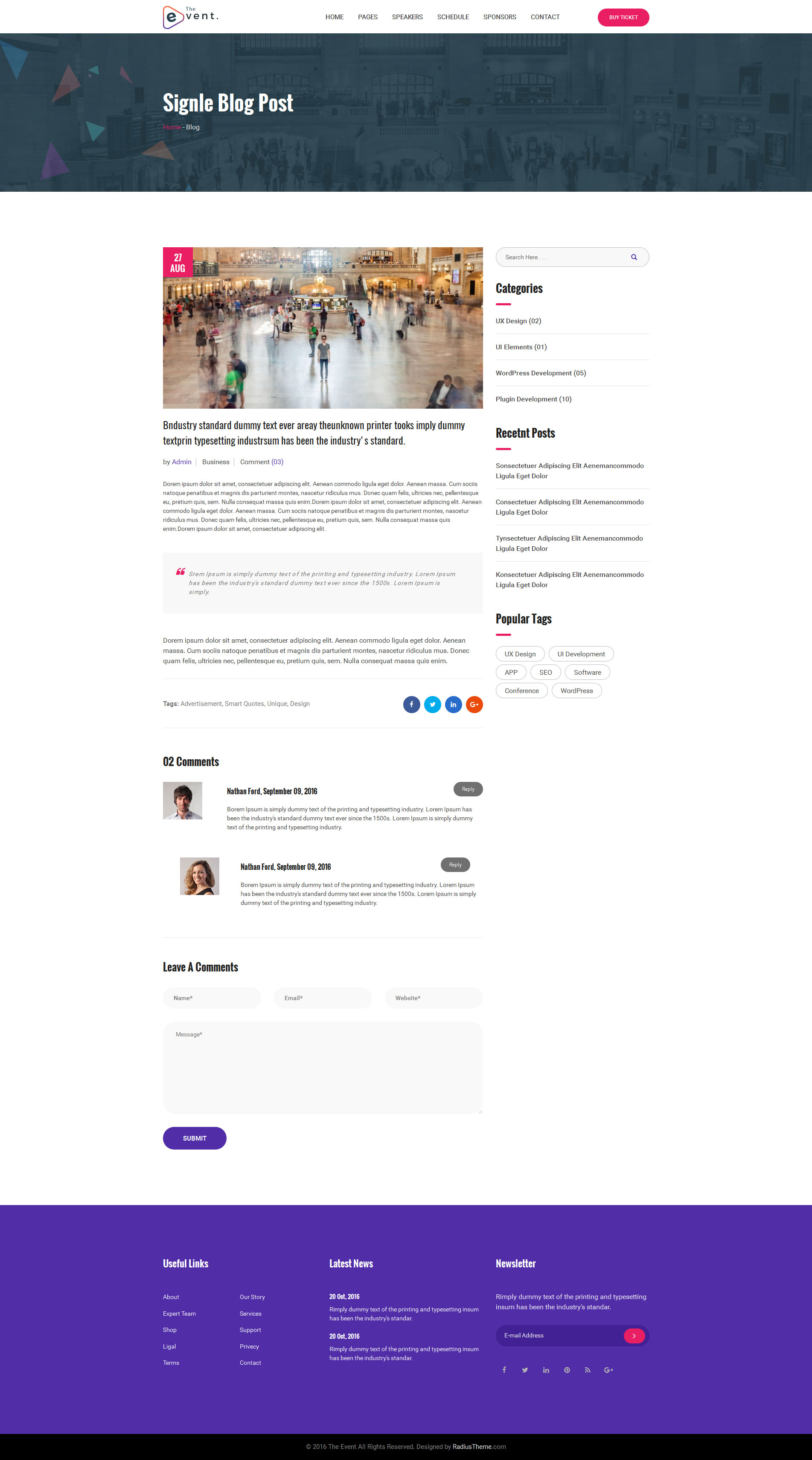 TheEvent Event Conference HTML5 Template by RadiusTheme – Seminar Schedule Template