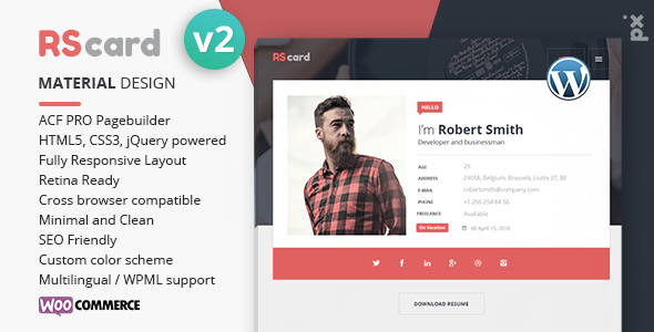 Resume, CV U0026 VCard Theme  Wordpress Resume Themes