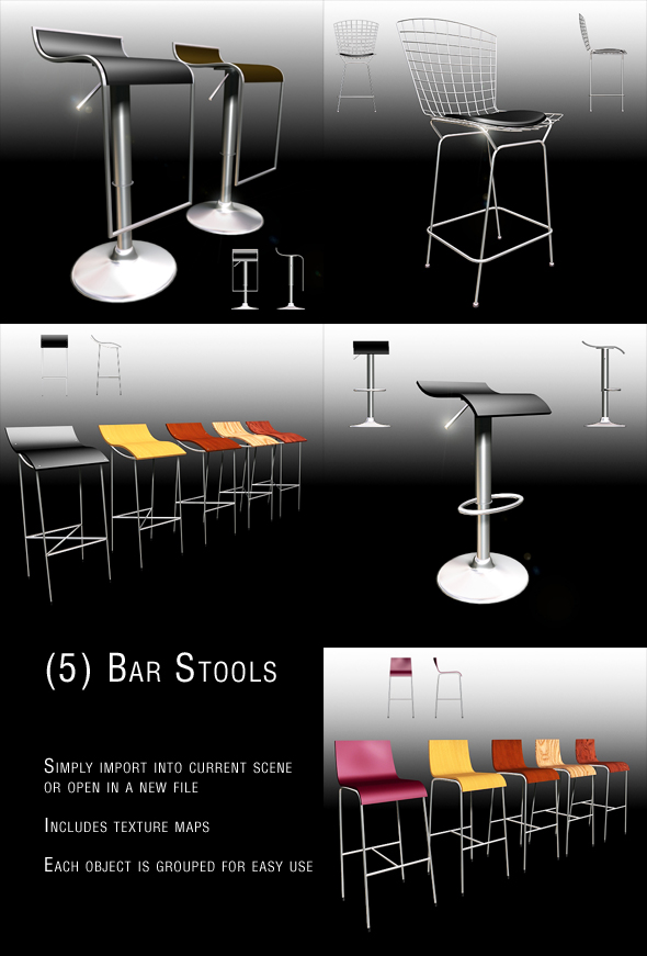 Bar Stool set_1 - 3DOcean Item for Sale