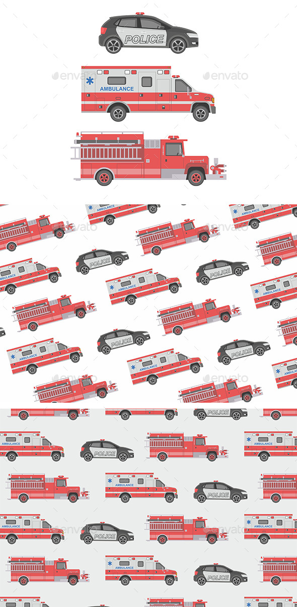 Police Ambulance Car and Fire truck - Man-made Objects Objects