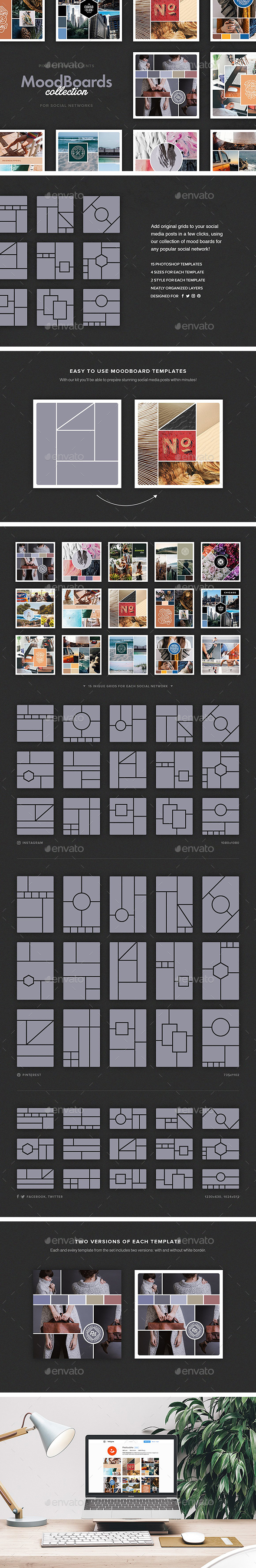 Mood Boards Collection - Social Media Web Elements