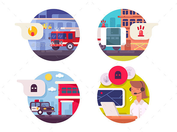 Emergency Call Icons Set - Web Elements Vectors