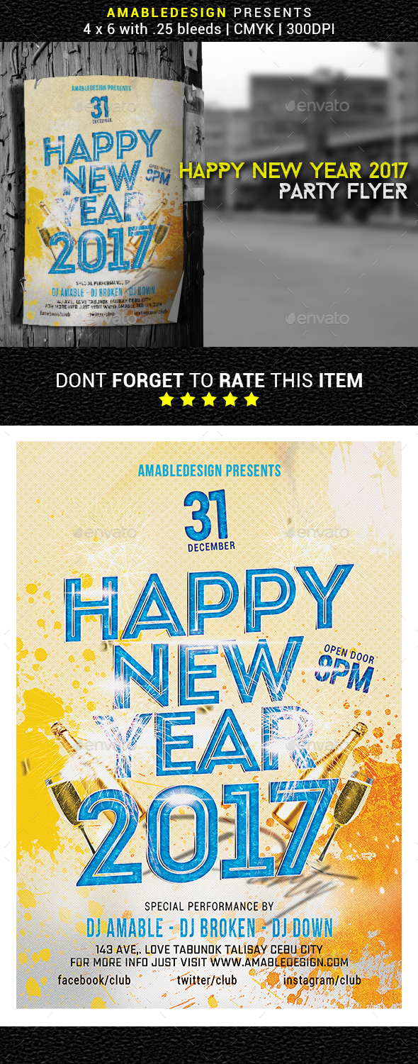 Happy New Year 2017 Flyer/Poster - Events Flyers