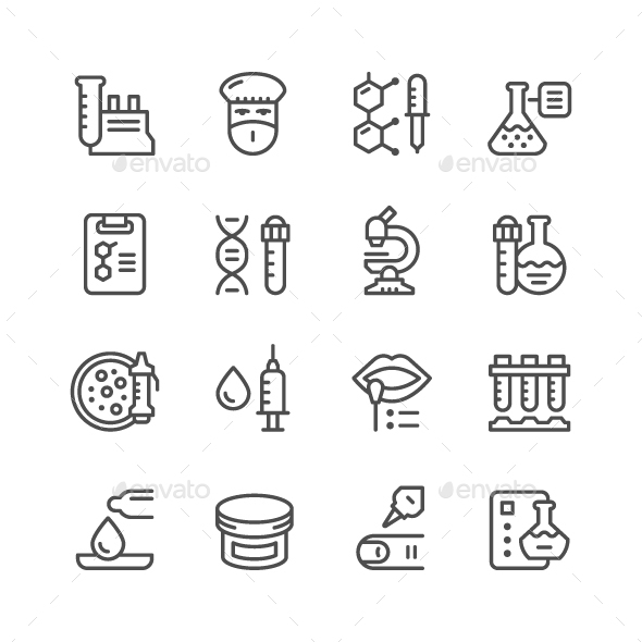 Set Line icons of Medical Analysis - Man-made objects Objects