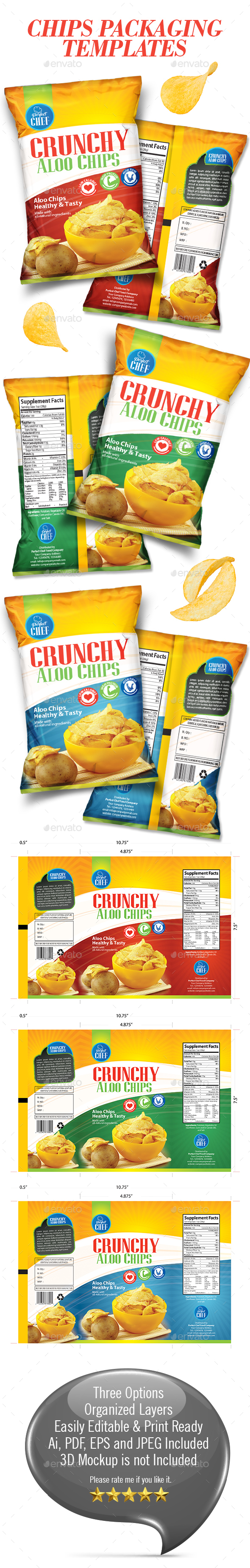 Chips Packaging Templates - Packaging Print Templates