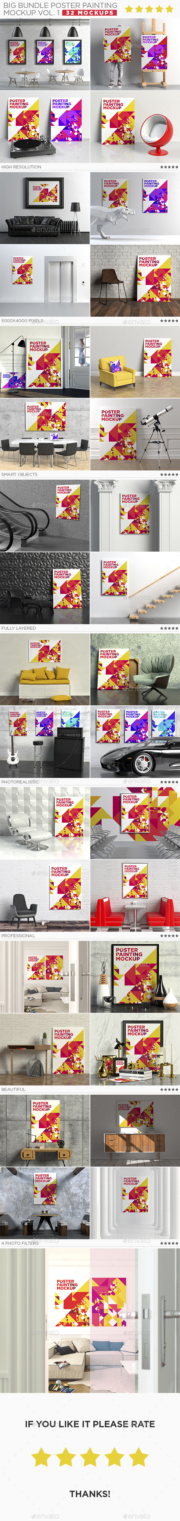 Big Bundle Poster Painting Mockup Vol. 1 - Posters Print