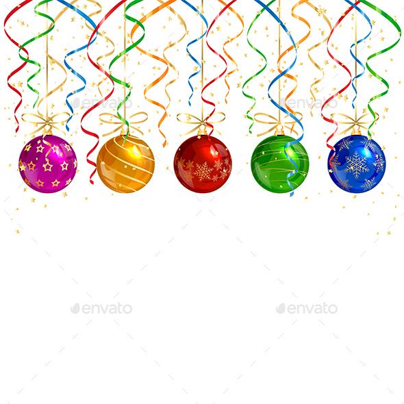 Christmas Balls and Colorful Tinsel - Christmas Seasons/Holidays