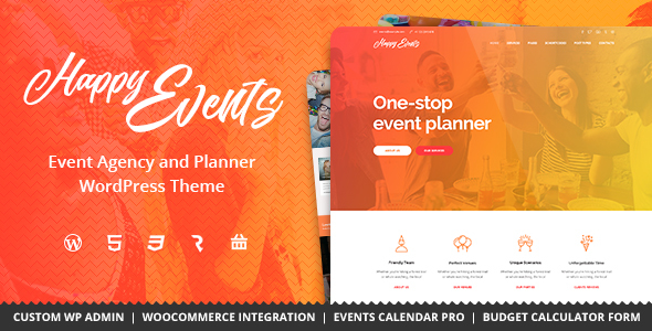 Happy Events - Holiday, Event Agency & Planner Events WordPress Theme