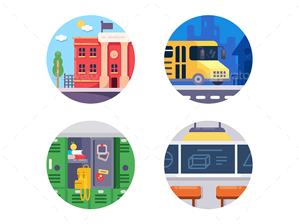 Education School Icons - Web Elements Vectors