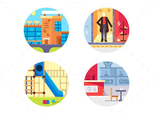 Shopping Center Set Icons - Web Elements Vectors
