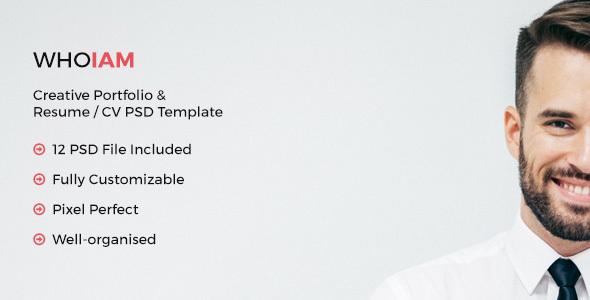 WHOIAM Creative Portfolio & Resume CV PSD Template