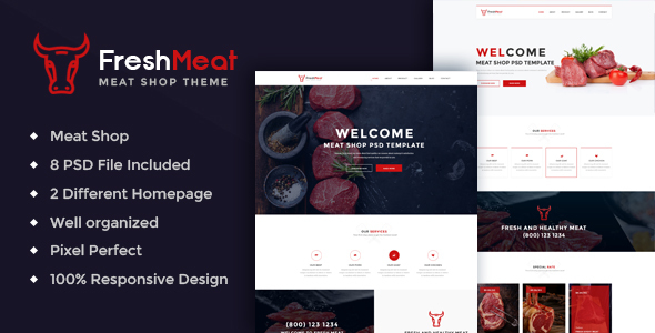 Meat Shop PSD Template – FreshMeat