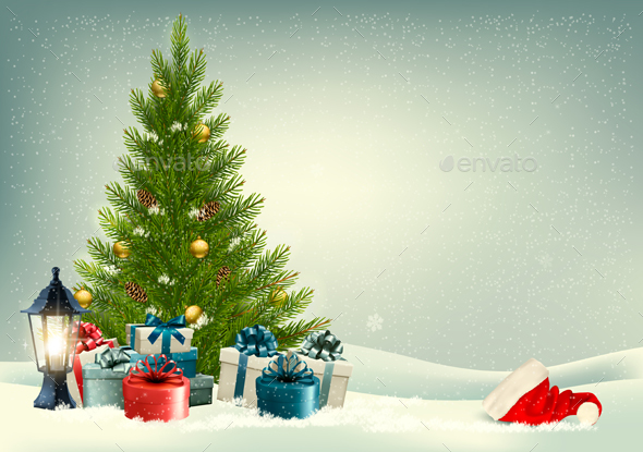 Christmas Retro Background with Tree Vector - Christmas Seasons/Holidays