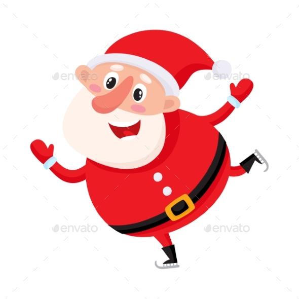Santa Claus Ice Skating - Christmas Seasons/Holidays