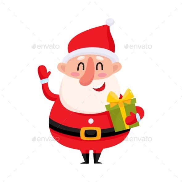 Santa Claus Holding Christmas Gift - Christmas Seasons/Holidays