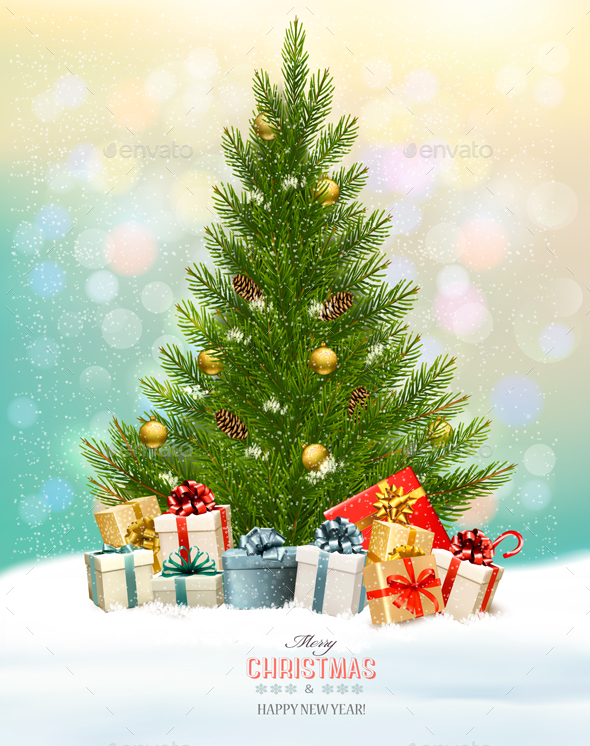 Christmas Holiday Background With Presents And Tree. Vector - Christmas Seasons/Holidays