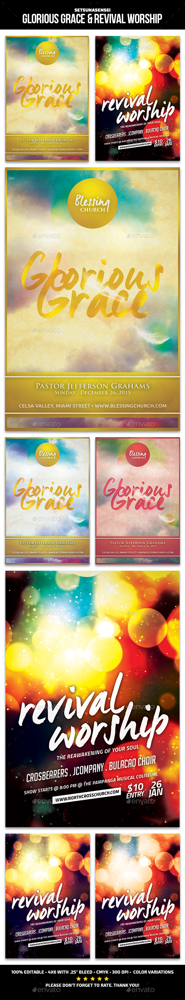 Glorious Grace & Revival Worship - Church Flyers