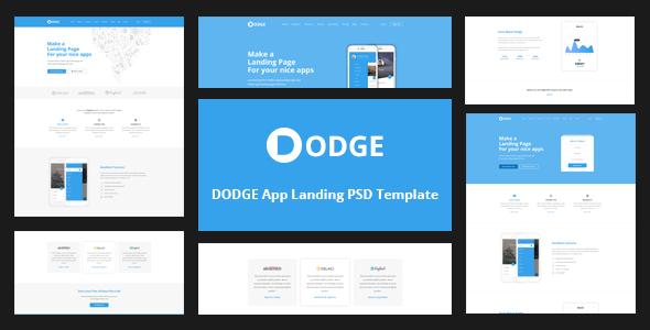 Dodge app landing psd template by codepassenger themeforest for Facebook app template psd