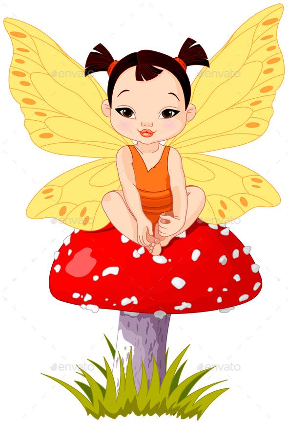 Cute Asian Baby Fairy On Mushroom - People Characters