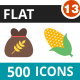 500 Vector Flat Icons Bundle (Vol-13) - GraphicRiver Item for Sale