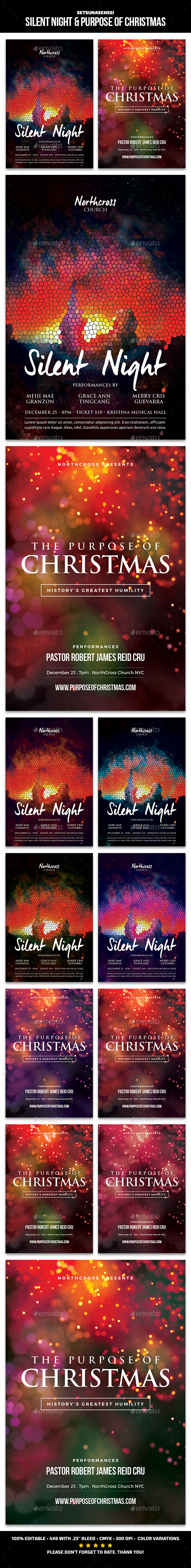 Silent Night & Purpose of Christmas Church Flyers - Church Flyers