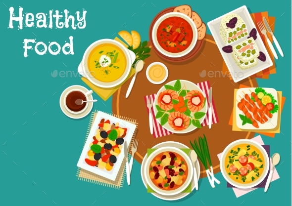 Popular Dinner Dishes Icon for Healthy Food Design - Food Objects
