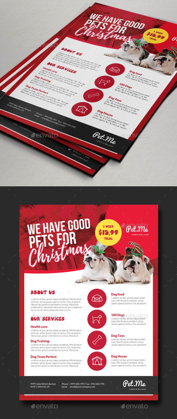 Pet Shop Promo Christmas Flyer Templtate - Corporate Flyers