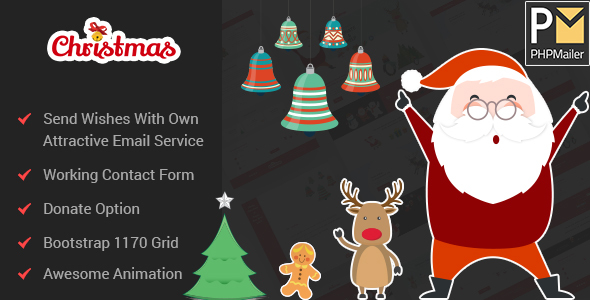 Christmas / New Year Party Template With Wish Mailer - Specialty Pages Site Templates