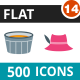 500 Vector Flat Icons Bundle (Vol-14) - GraphicRiver Item for Sale