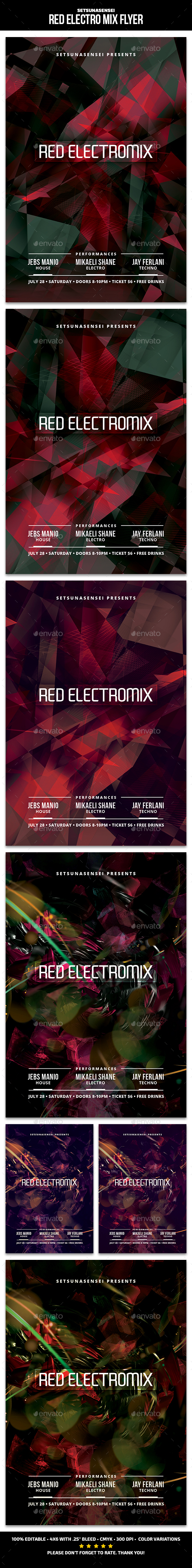 Red Electro Mix Flyer - Clubs & Parties Events