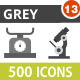 500 Vector Greyscale Icons Bundle (Vol-13) - GraphicRiver Item for Sale