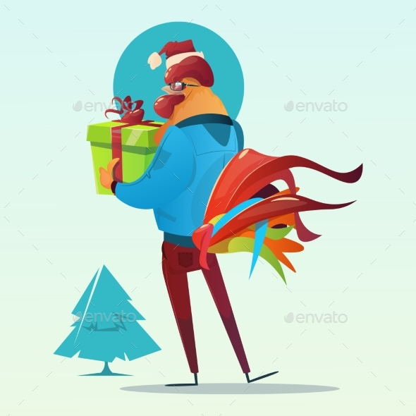 Cartoon Rooster Hipster Hold Present Box Happy - Christmas Seasons/Holidays