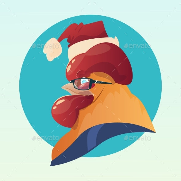 Cartoon Rooster Wear Santa Hat Happy New 2017 Year - Christmas Seasons/Holidays
