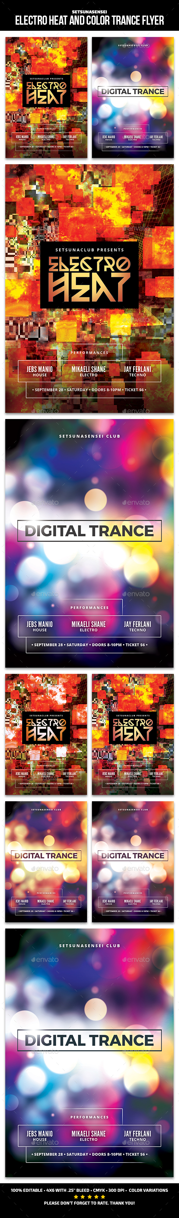 Electro Heat and Color Trance Flyer - Clubs & Parties Events