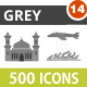 500 Vector Greyscale Icons Bundle (Vol-14) - GraphicRiver Item for Sale